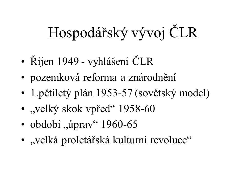 Hospodářský vývoj ČLR Říjen 1949 - vyhlášení ČLR