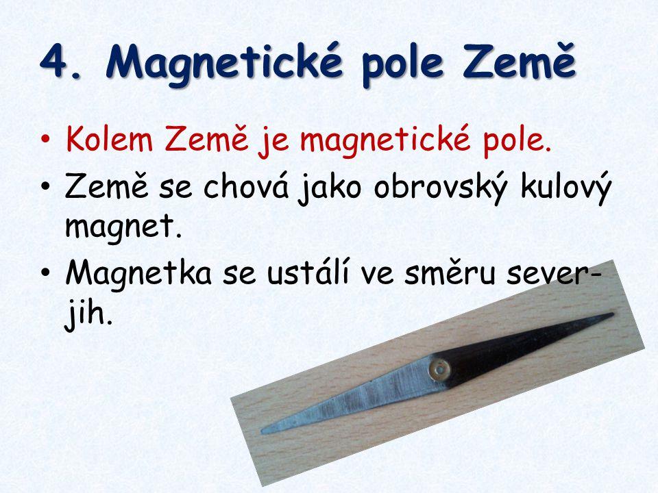 4. Magnetické pole Země Kolem Země je magnetické pole.