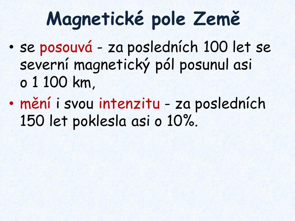 Magnetické pole Země se posouvá - za posledních 100 let se severní magnetický pól posunul asi o 1 100 km,