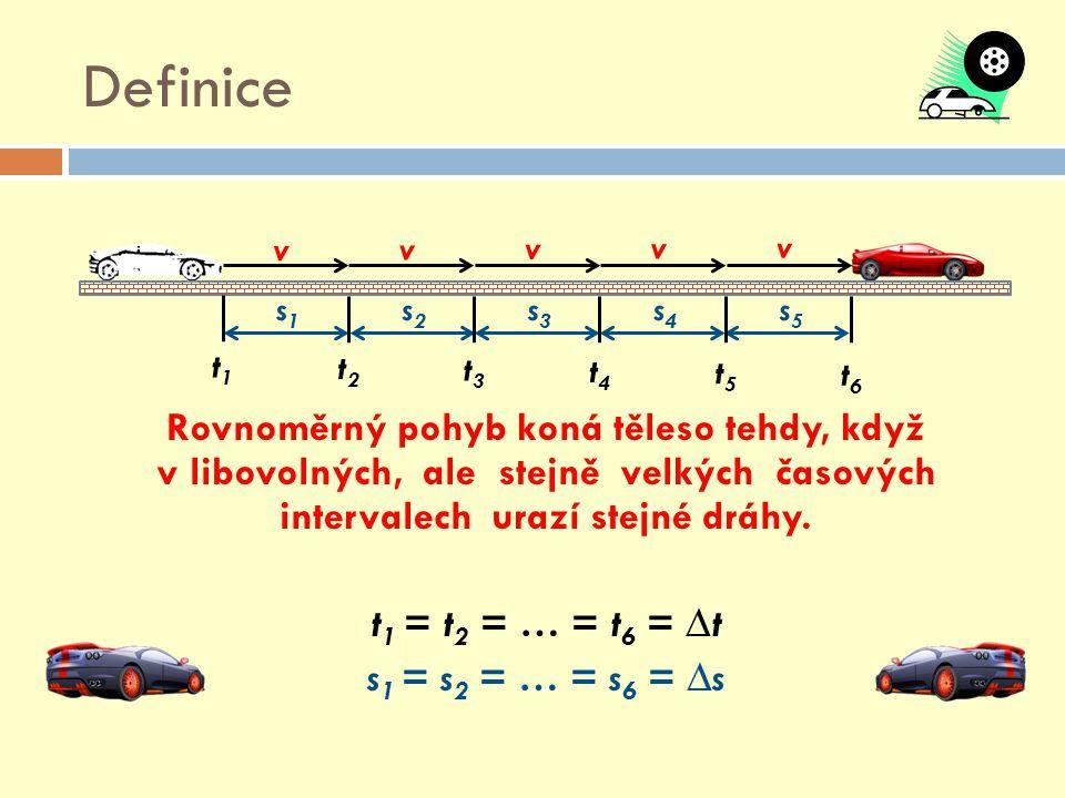 Definice Rovnoměrný pohyb koná těleso tehdy, když v libovolných, ale stejně velkých časových intervalech urazí stejné dráhy.