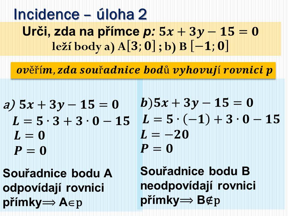 Urči, zda na přímce p: 𝟓𝒙+𝟑𝒚−𝟏𝟓=𝟎