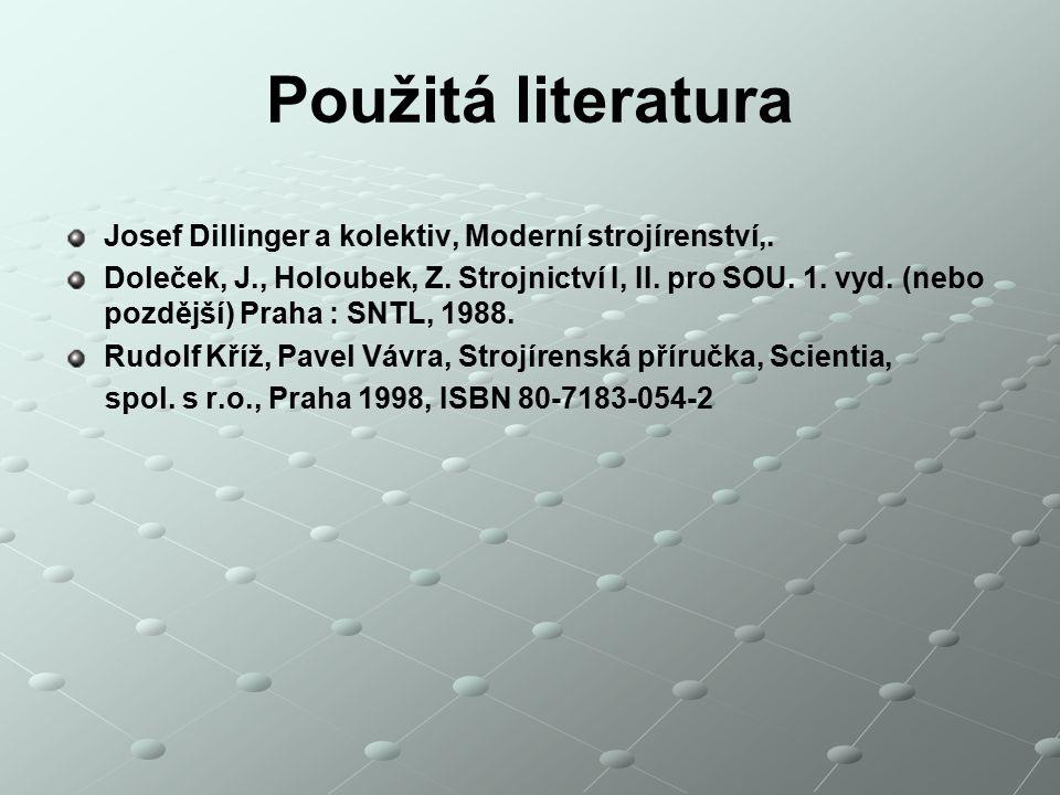 Použitá literatura Josef Dillinger a kolektiv, Moderní strojírenství,.