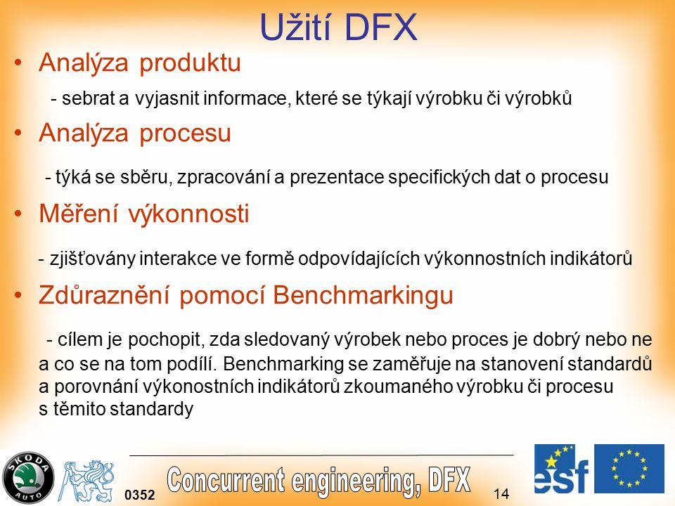 Užití DFX Analýza produktu. - sebrat a vyjasnit informace, které se týkají výrobku či výrobků. Analýza procesu.