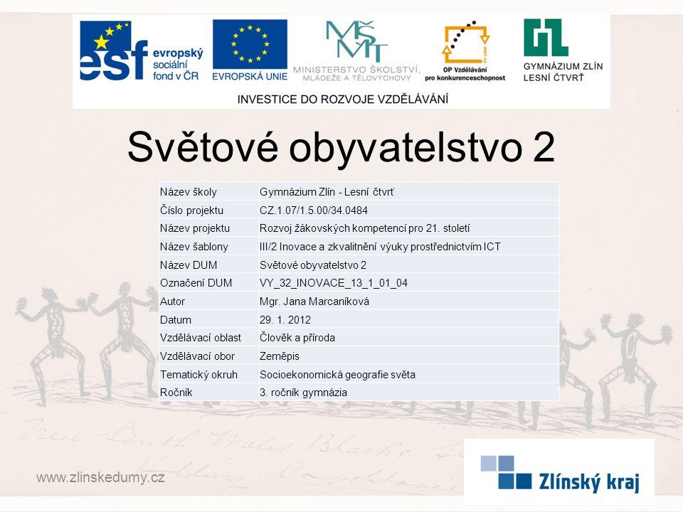 Světové obyvatelstvo 2 www.zlinskedumy.cz Název školy