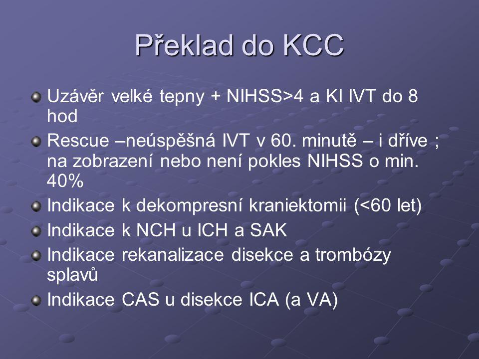 Překlad do KCC Uzávěr velké tepny + NIHSS>4 a KI IVT do 8 hod