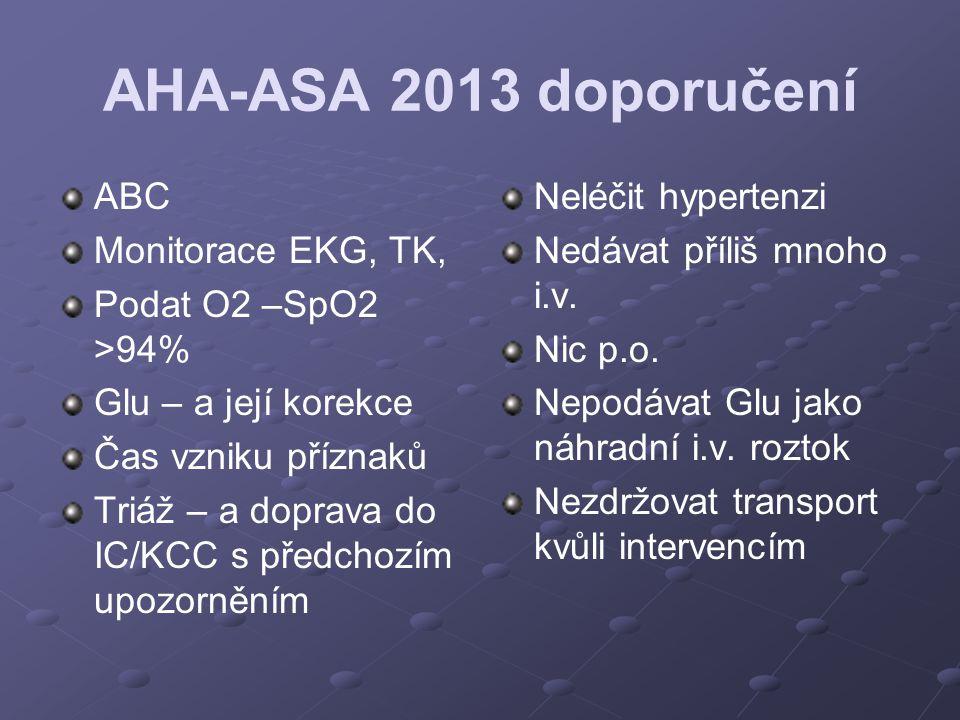 AHA-ASA 2013 doporučení ABC Monitorace EKG, TK, Podat O2 –SpO2 >94%