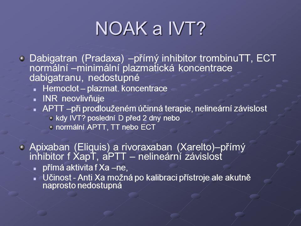 NOAK a IVT Dabigatran (Pradaxa) –přímý inhibitor trombinuTT, ECT normální –minimální plazmatická koncentrace dabigatranu, nedostupné.