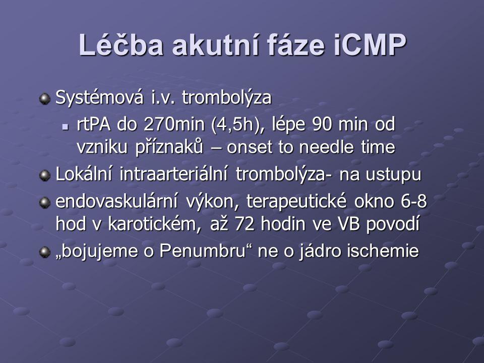 Léčba akutní fáze iCMP Systémová i.v. trombolýza