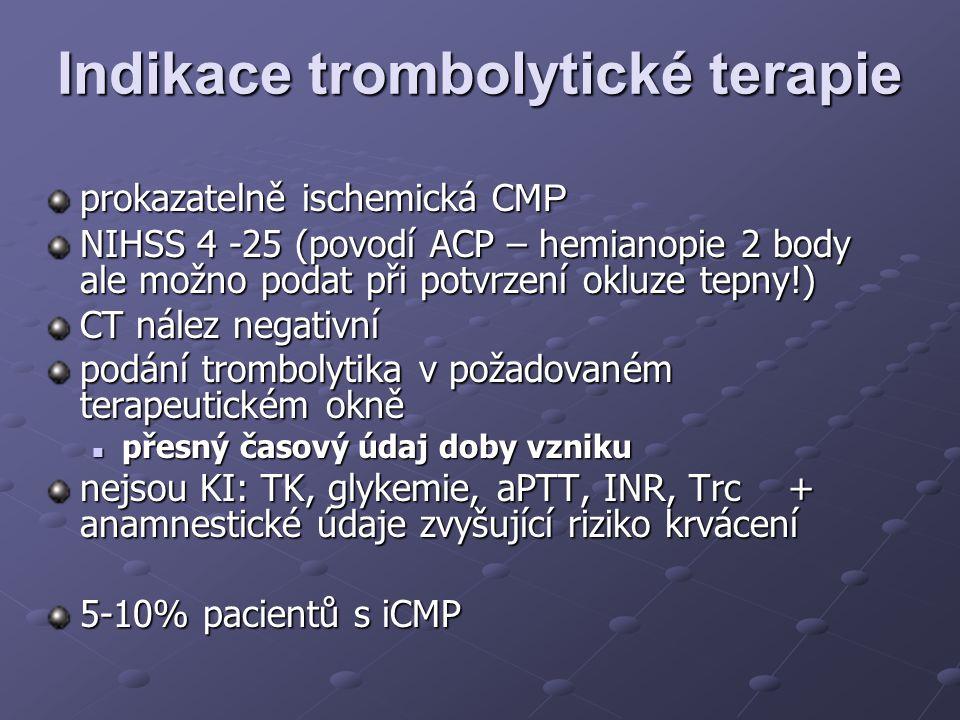 Indikace trombolytické terapie