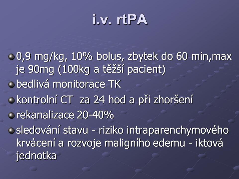 i.v. rtPA 0,9 mg/kg, 10% bolus, zbytek do 60 min,max je 90mg (100kg a těžší pacient) bedlivá monitorace TK.