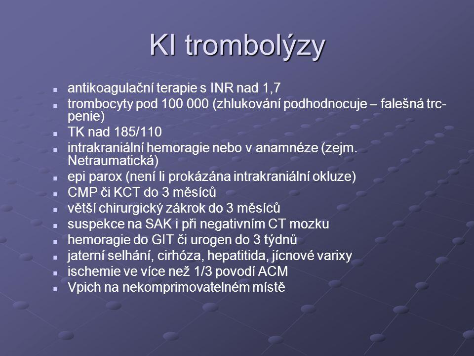 KI trombolýzy antikoagulační terapie s INR nad 1,7