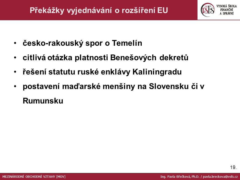 Překážky vyjednávání o rozšíření EU