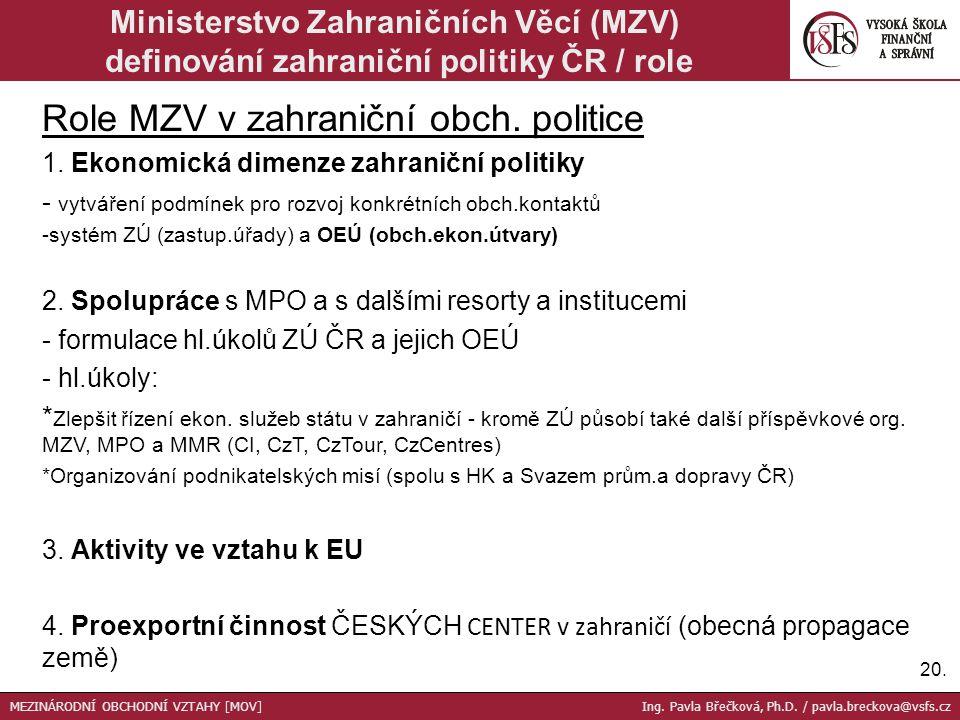 Role MZV v zahraniční obch. politice