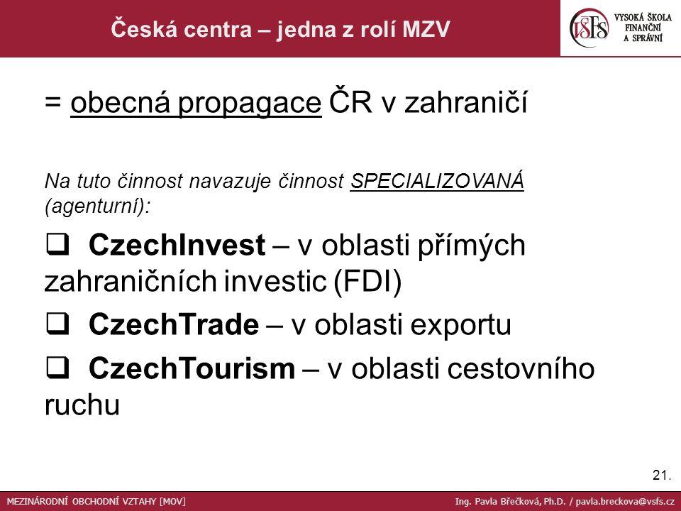 Česká centra – jedna z rolí MZV