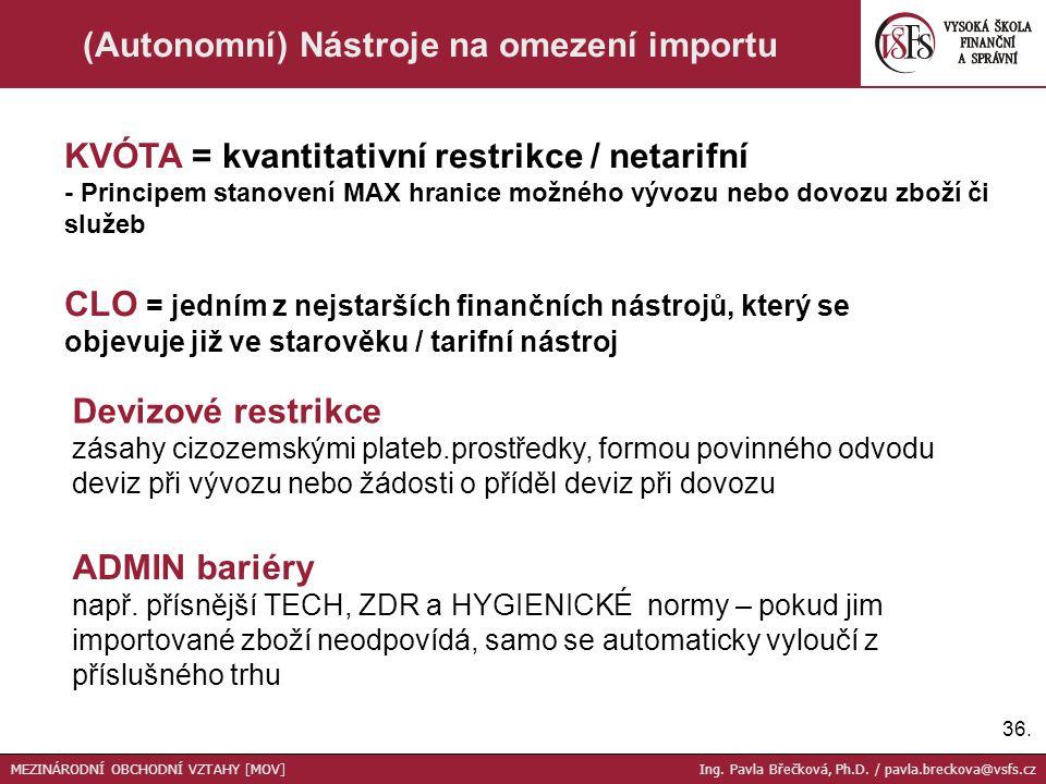 (Autonomní) Nástroje na omezení importu