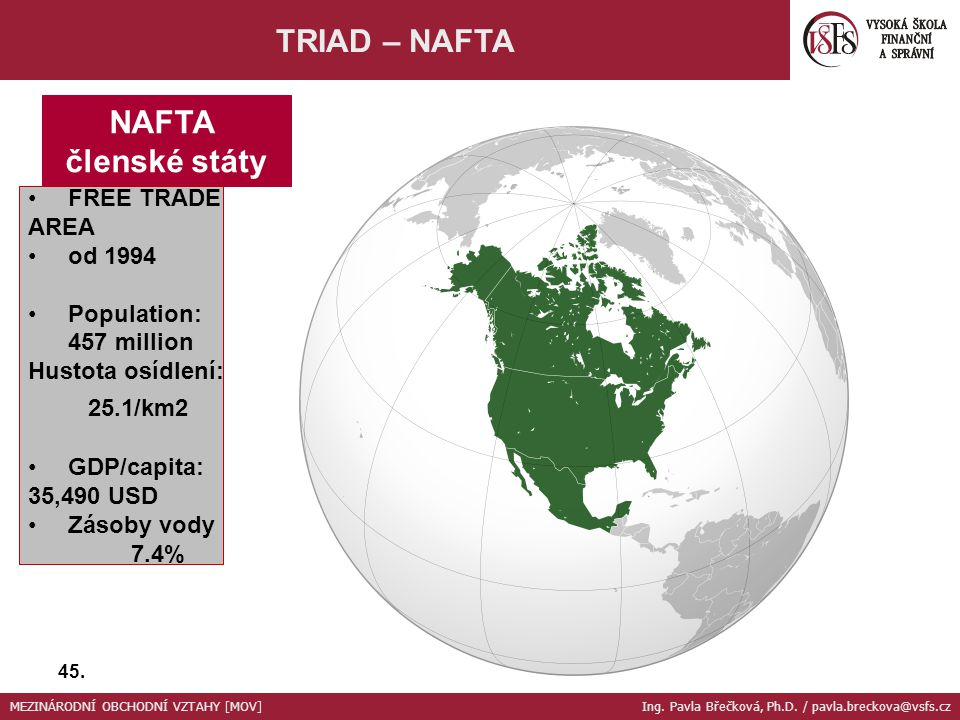 TRIAD – NAFTA NAFTA členské státy