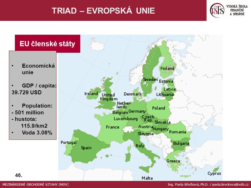 TRIAD – EVROPSKÁ UNIE EU členské státy Economická unie GDP / capita: