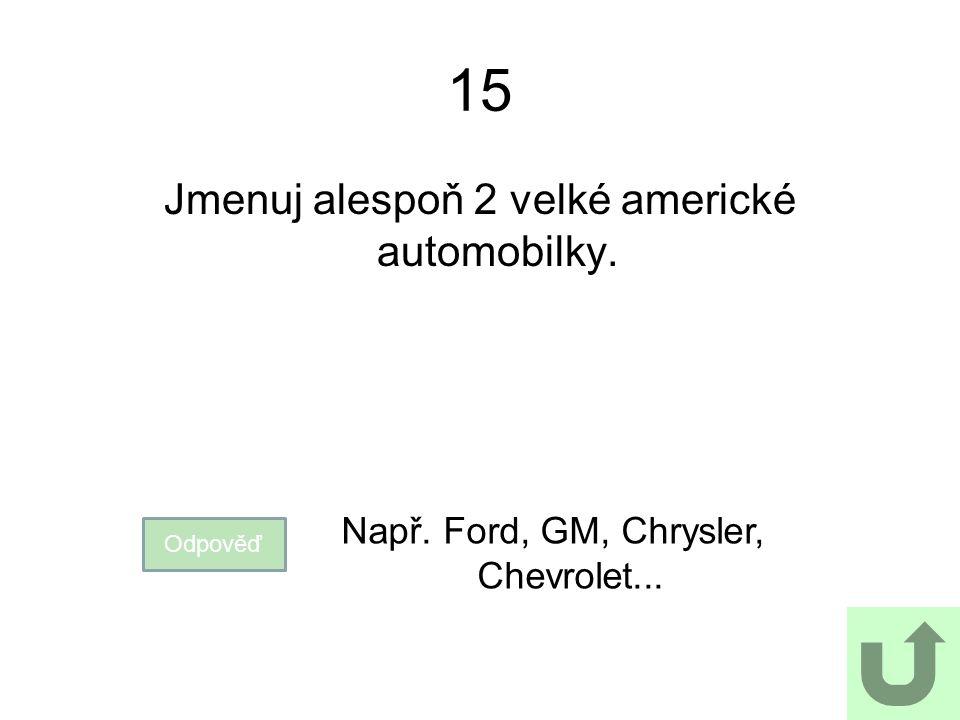 15 Jmenuj alespoň 2 velké americké automobilky.