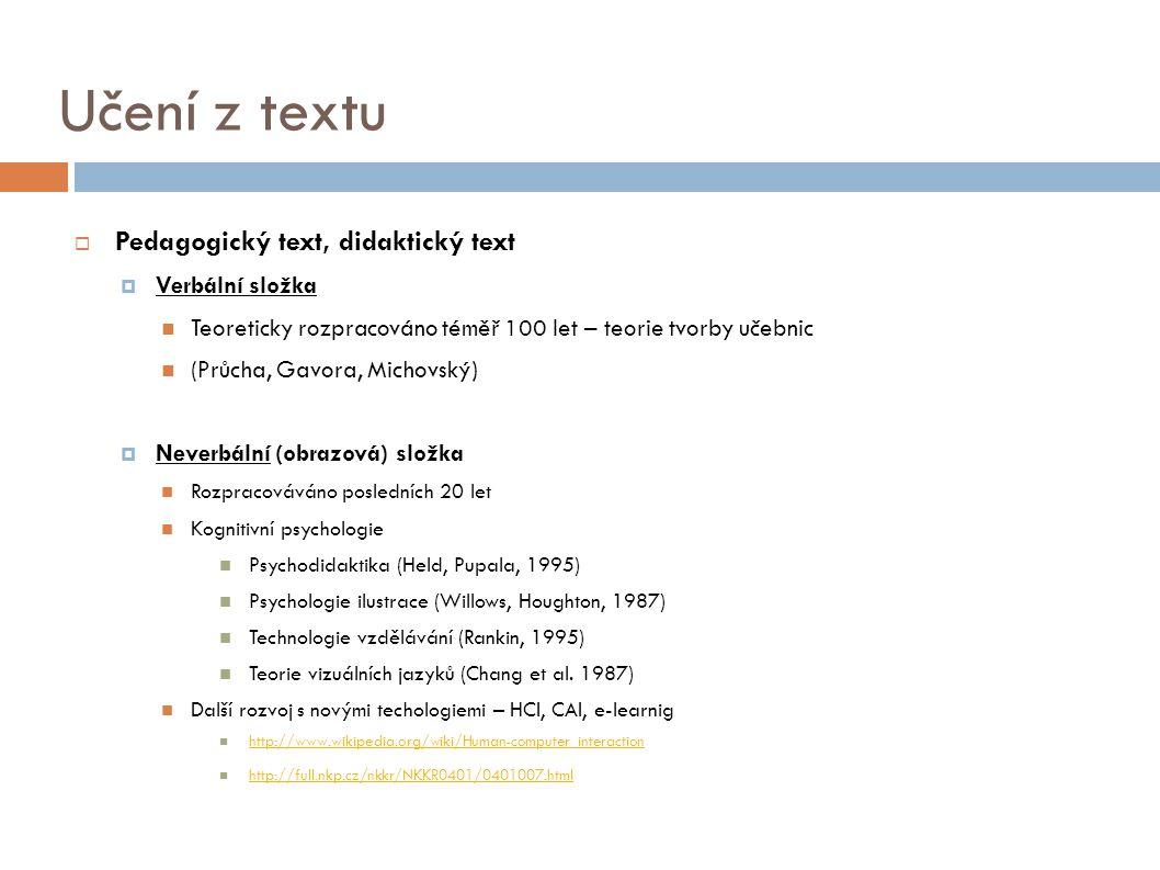 Učení z textu Pedagogický text, didaktický text Verbální složka