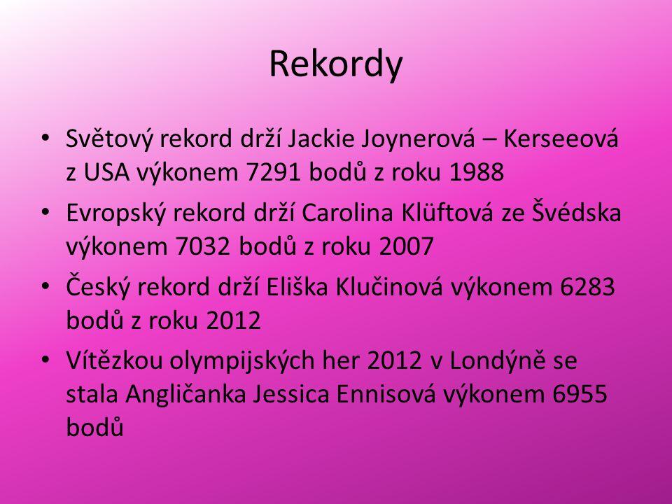 Rekordy Světový rekord drží Jackie Joynerová – Kerseeová z USA výkonem 7291 bodů z roku 1988.