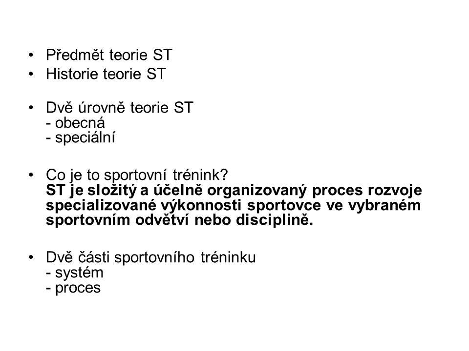 Předmět teorie ST Historie teorie ST. Dvě úrovně teorie ST - obecná - speciální.