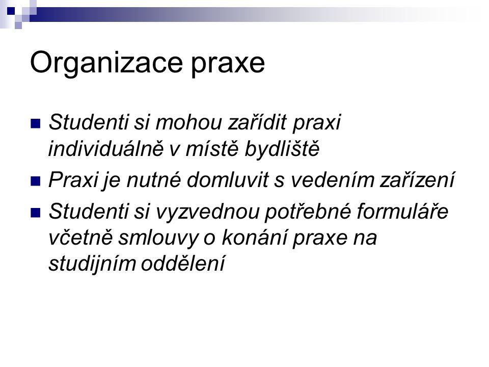 Organizace praxe Studenti si mohou zařídit praxi individuálně v místě bydliště. Praxi je nutné domluvit s vedením zařízení.