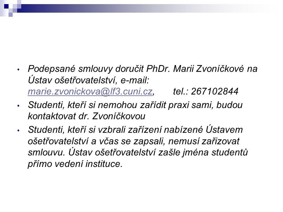 Podepsané smlouvy doručit PhDr