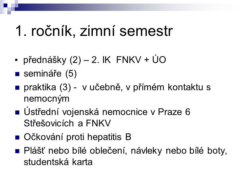 1. ročník, zimní semestr ▪ přednášky (2) – 2. IK FNKV + ÚO