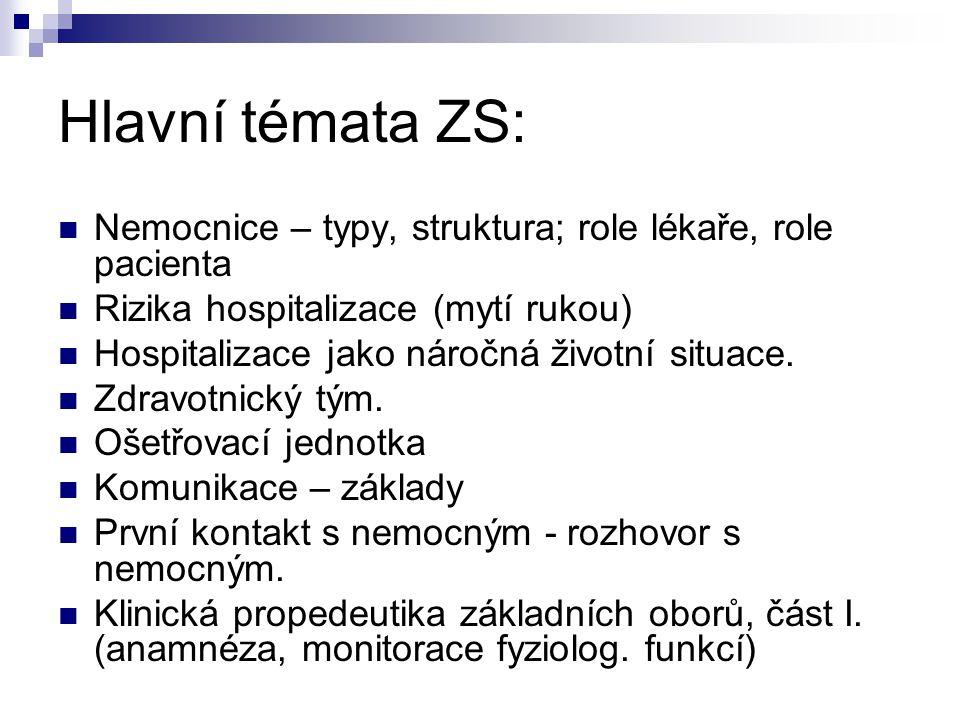 Hlavní témata ZS: Nemocnice – typy, struktura; role lékaře, role pacienta. Rizika hospitalizace (mytí rukou)