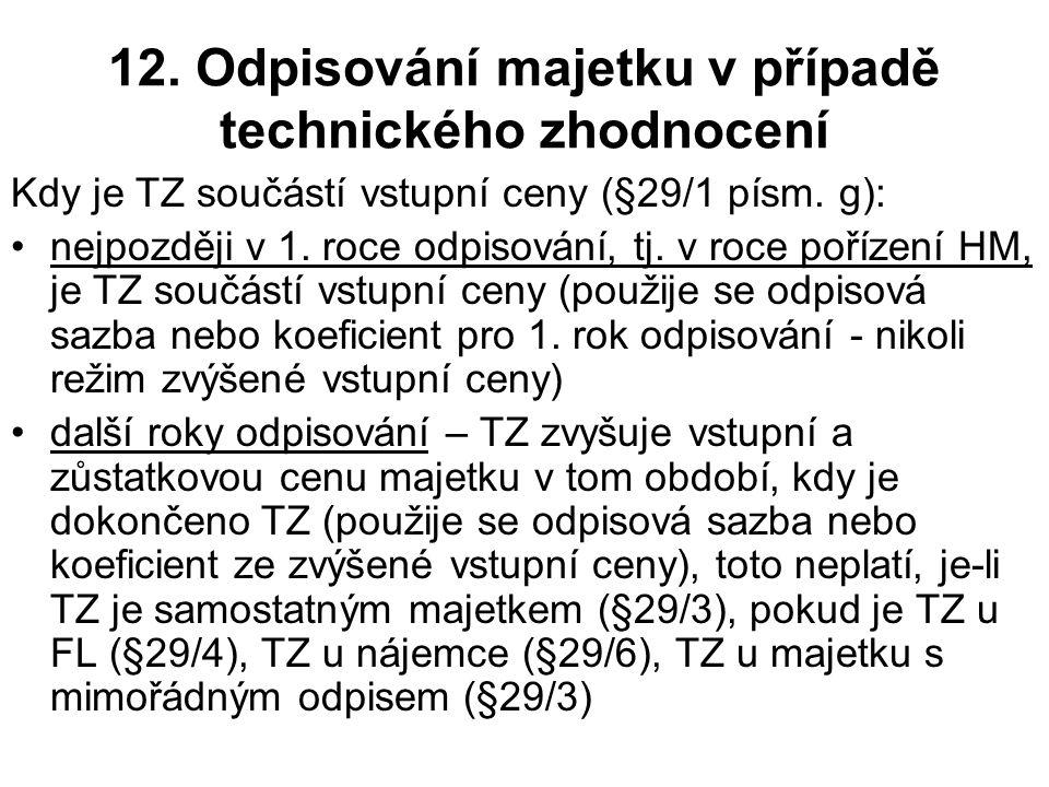 12. Odpisování majetku v případě technického zhodnocení