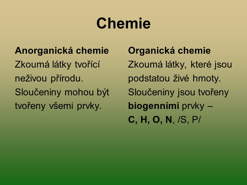 Chemie Anorganická chemie Zkoumá látky tvořící neživou přírodu.