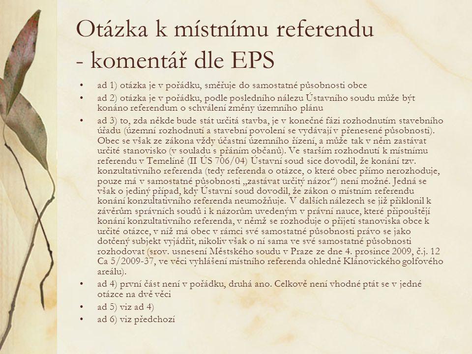 Otázka k místnímu referendu - komentář dle EPS