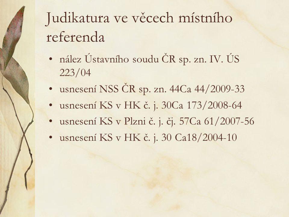 Judikatura ve věcech místního referenda