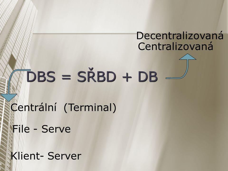 DBS = SŘBD + DB Decentralizovaná Centralizovaná Centrální (Terminal)