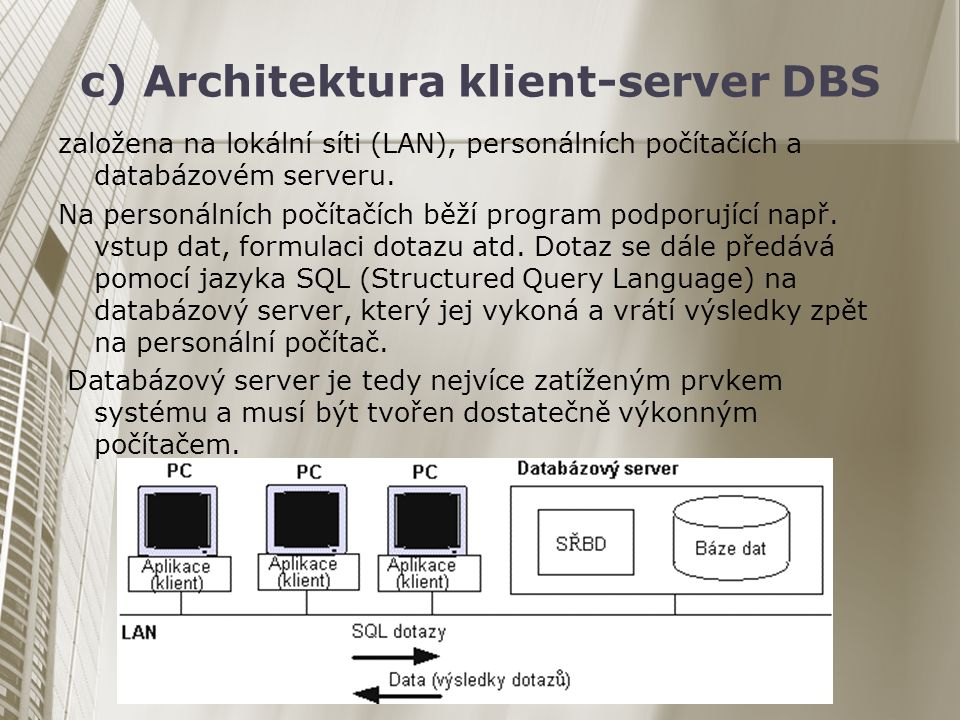 c) Architektura klient-server DBS
