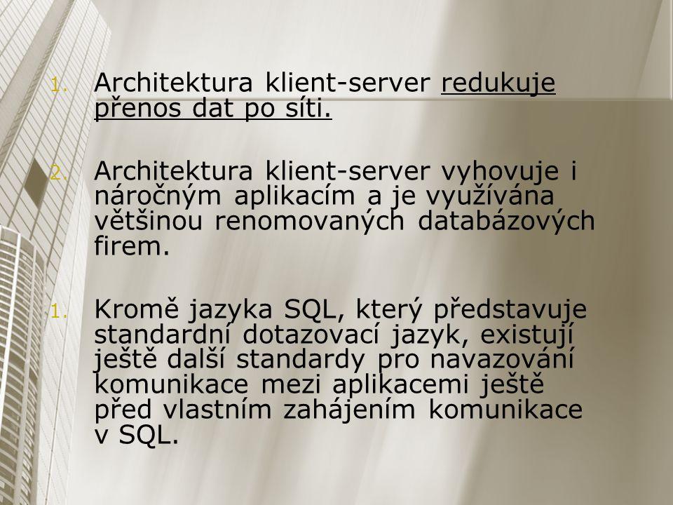 Architektura klient-server redukuje přenos dat po síti.