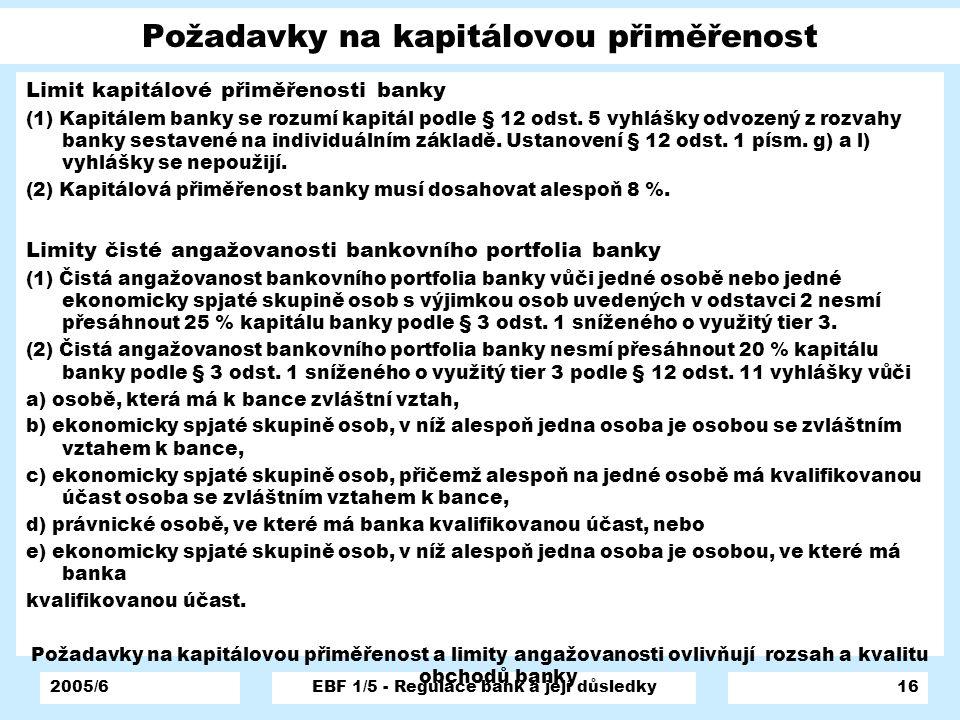 Požadavky na kapitálovou přiměřenost