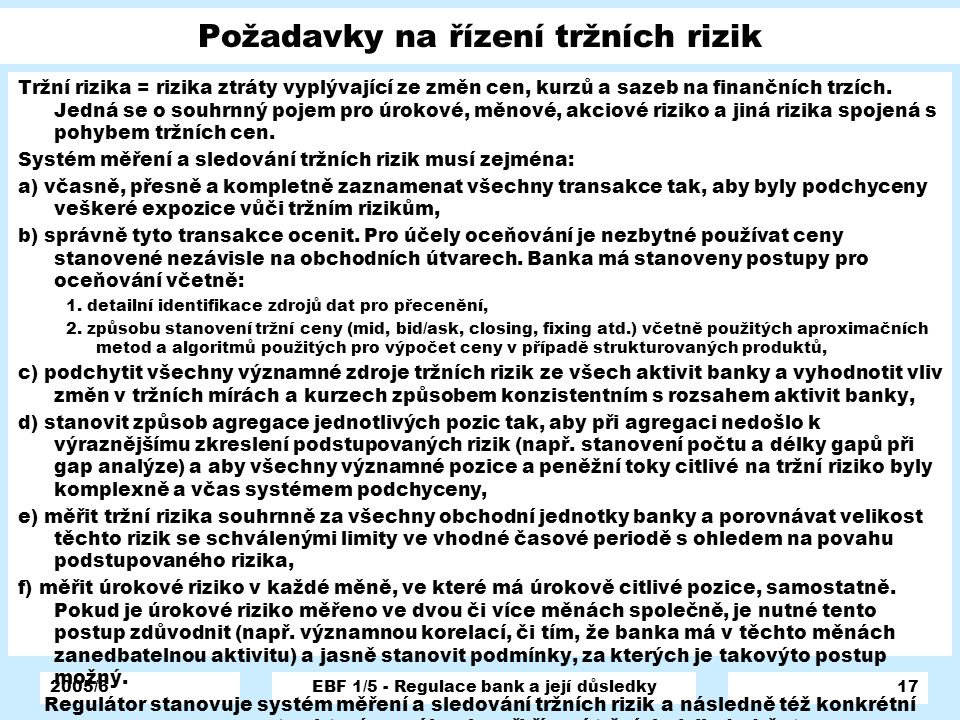 Požadavky na řízení tržních rizik