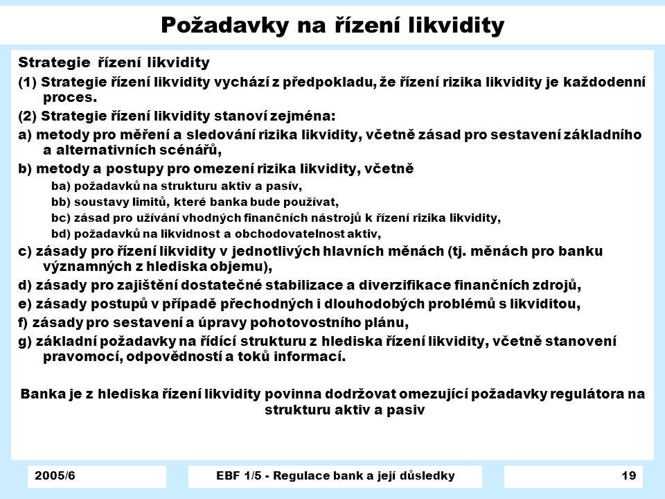 Požadavky na řízení likvidity