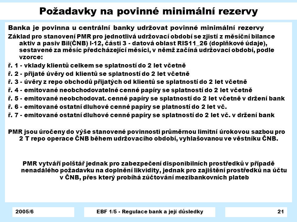 Požadavky na povinné minimální rezervy