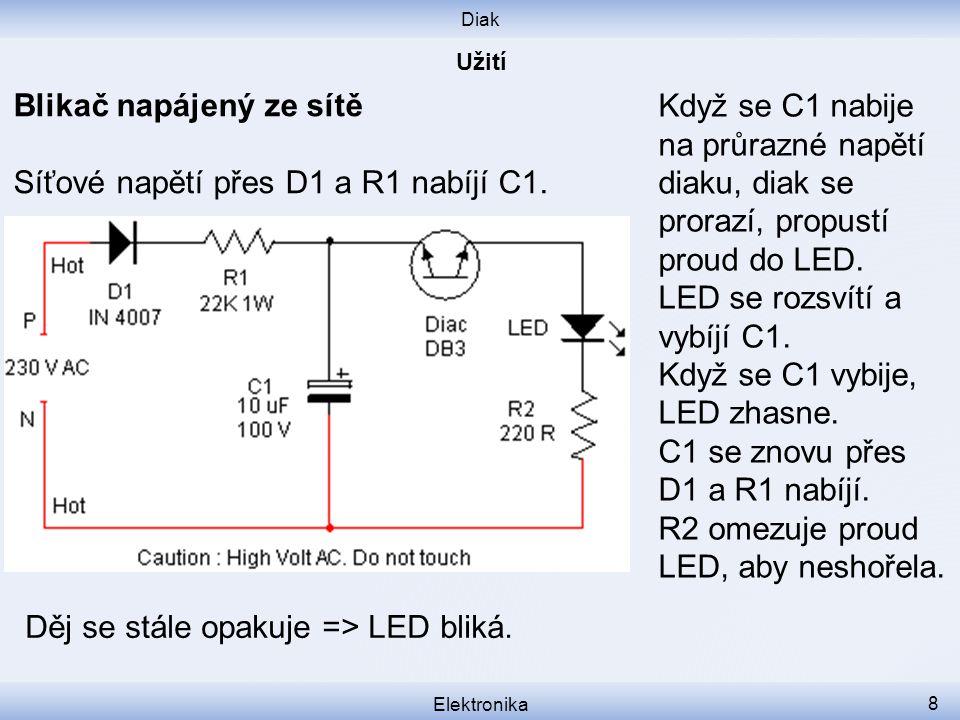 Blikač napájený ze sítě Síťové napětí přes D1 a R1 nabíjí C1.