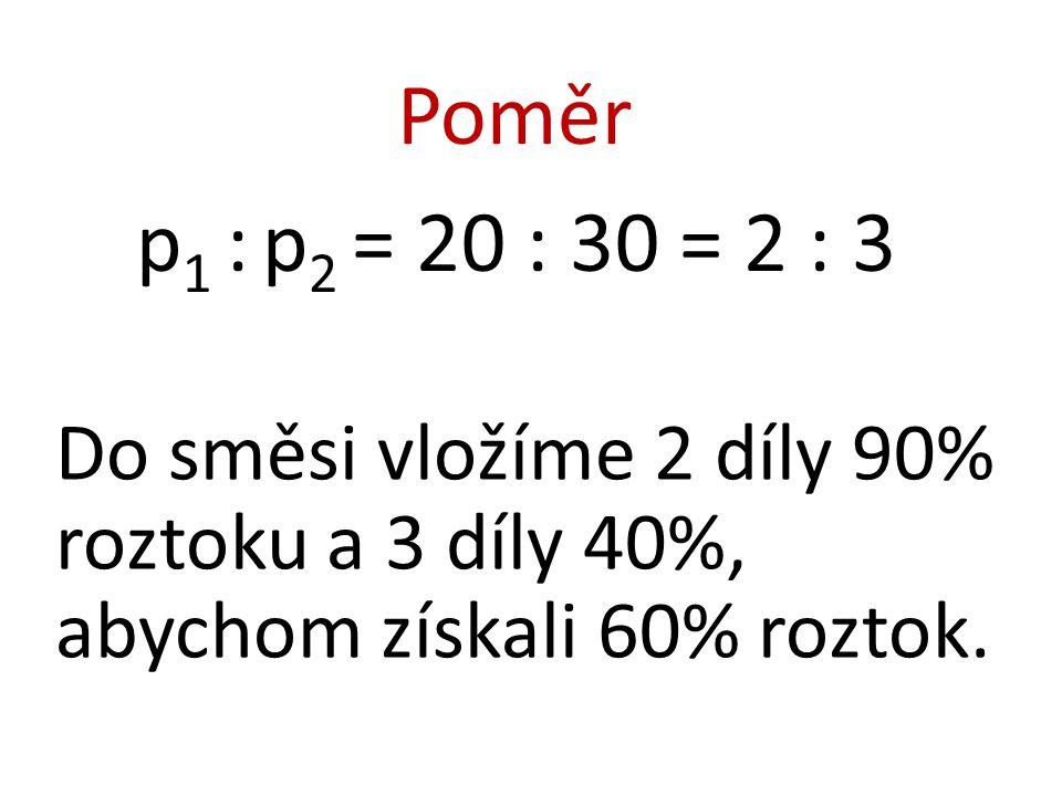 Poměr p1 : p2 = 20 : 30 = 2 : 3.