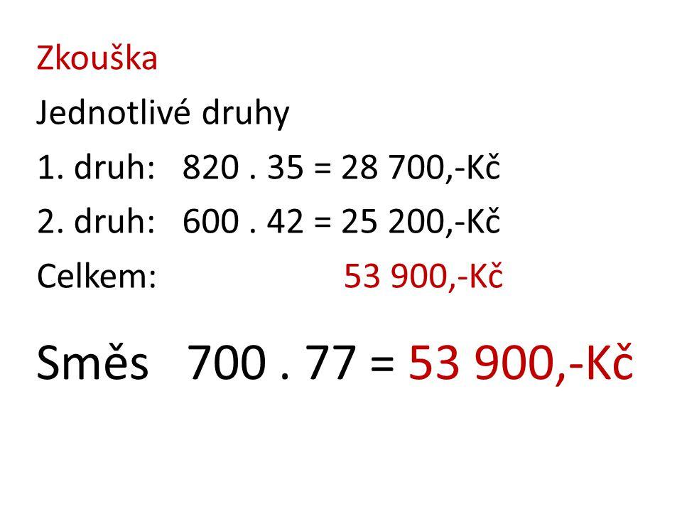 Směs 700 . 77 = 53 900,-Kč Zkouška Jednotlivé druhy