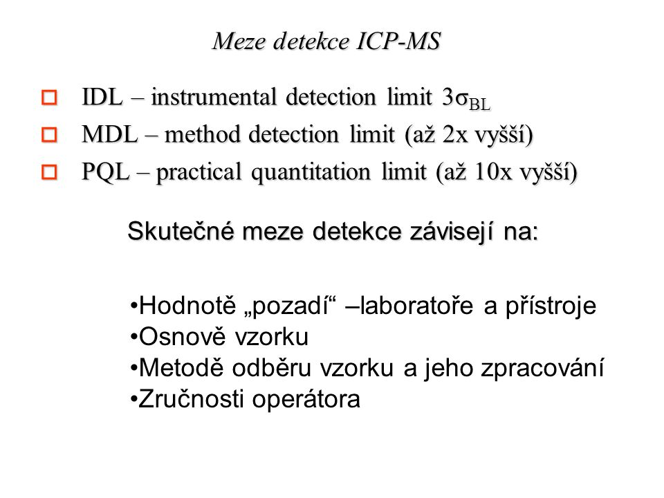 Meze detekce ICP-MS IDL – instrumental detection limit 3σBL. MDL – method detection limit (až 2x vyšší)