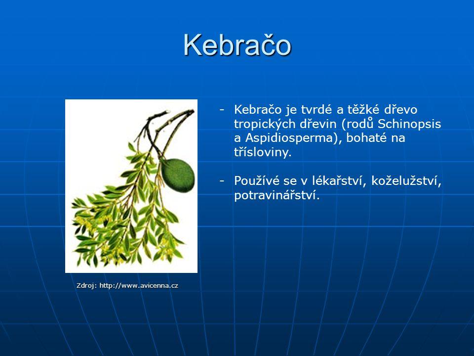 Kebračo Kebračo je tvrdé a těžké dřevo tropických dřevin (rodů Schinopsis a Aspidiosperma), bohaté na třísloviny.