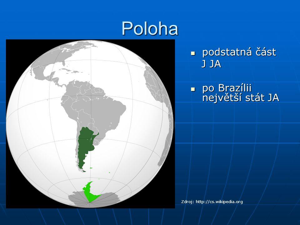 Poloha podstatná část J JA po Brazílii největší stát JA