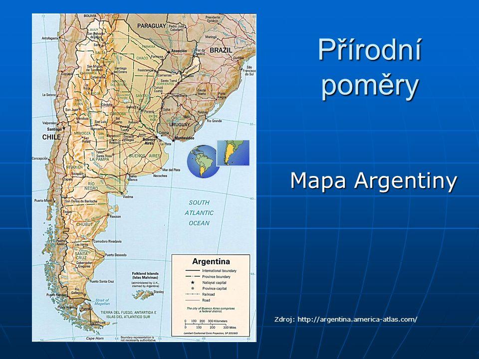 Přírodní poměry Mapa Argentiny