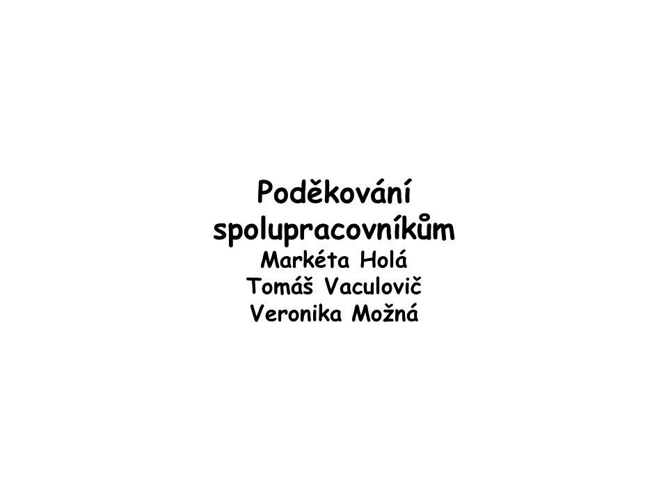 Poděkování spolupracovníkům Markéta Holá Tomáš Vaculovič Veronika Možná