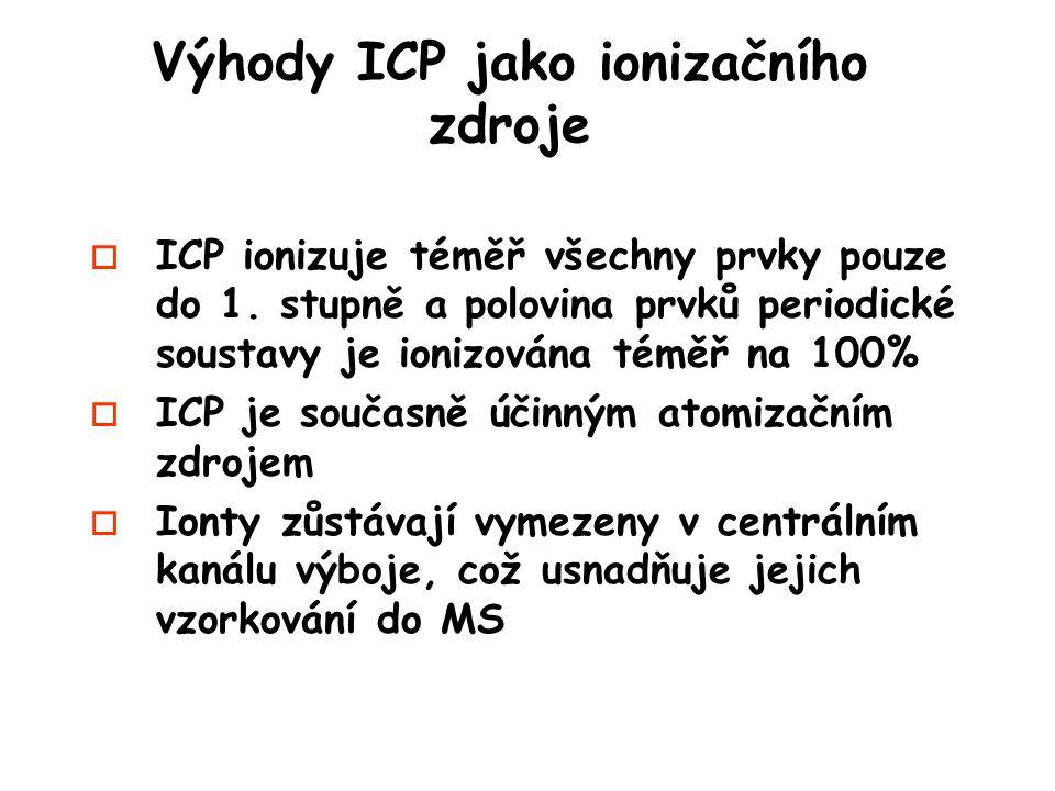 Výhody ICP jako ionizačního zdroje