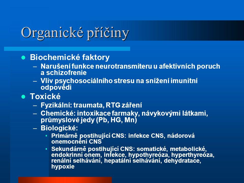 Organické příčiny Biochemické faktory Toxické